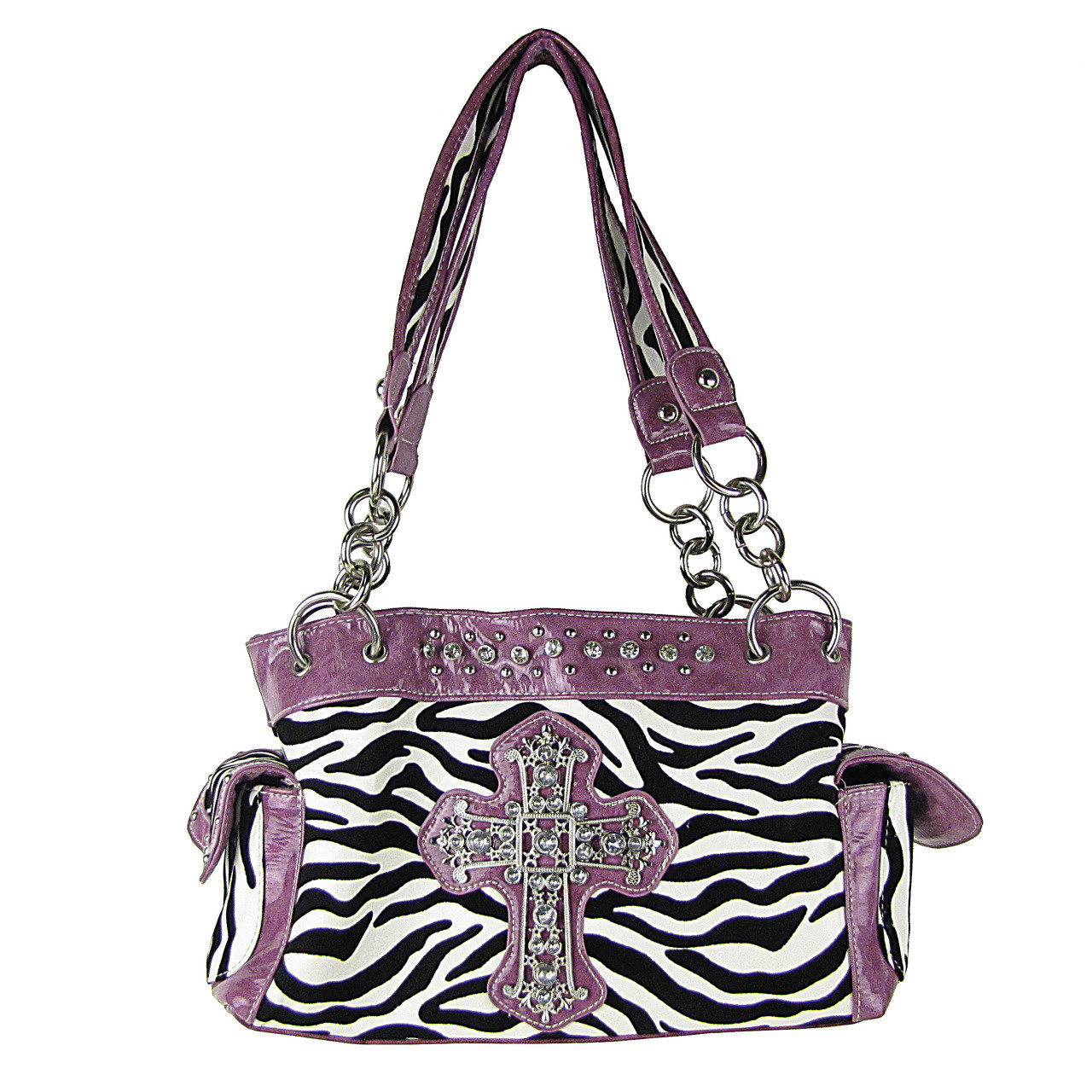 LIGHT PURPLE ZEBRA PRINT CROSS SHOULDER HANDBAG HB1-98001LPL