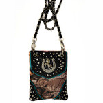 BLACK CAMO STUDDED RHINESTONE HORSESHOE MINI MESSENGER BAG MB2-1202BLK