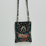 BROWN CAMO STUDDED RHINESTONE PISTOLS MINI MESSENGER BAG MB2-1206BRN