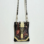BLACK CAMO STUDDED RHINESTONE CROSS BUCKLE MINI MESSENGER BAG MB2-0409BLK
