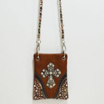 BROWN CAMO RHINESTONE STUDDED CROSS MINI MESSENGER BAG MB2-0406BRN