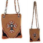 BEIGE SHINY STUDDED RHINESTONE CROSS MINI MESSENGER BAG MB2-0403BEI