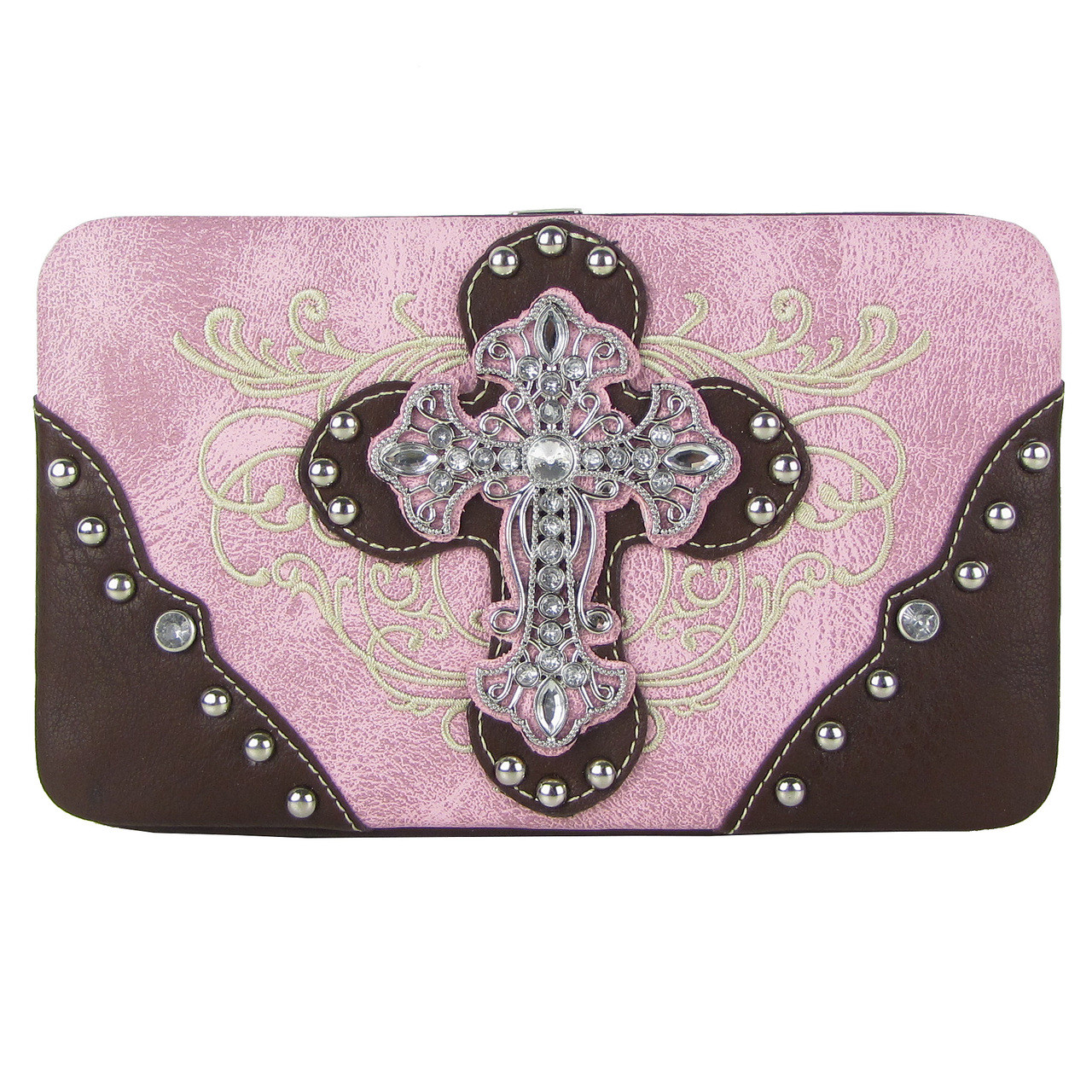 PINK WESTERN RHINESTONE CROSS TOOLED FLAT THICK WALLET FW2-0477LPK