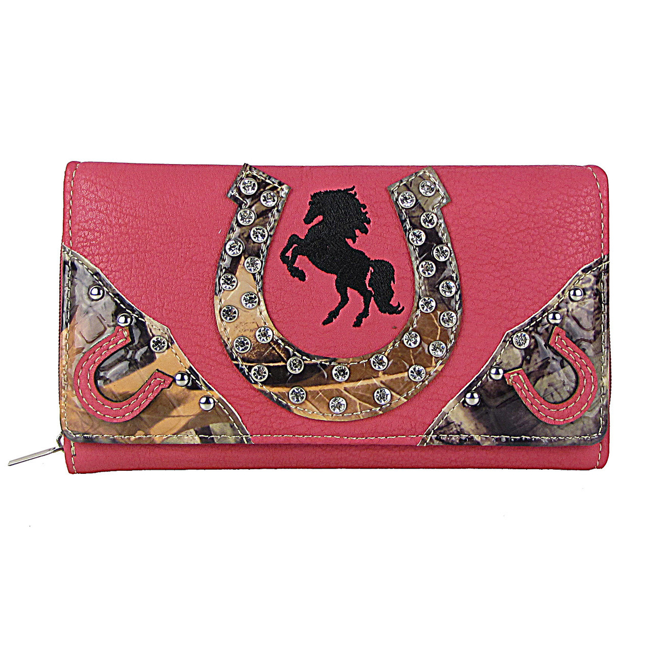 HOT PINK HORSESHOE WESTERN STUDDED MOSSY CAMO LOOK CHECKBOOK WALLET CB1-1276HPK