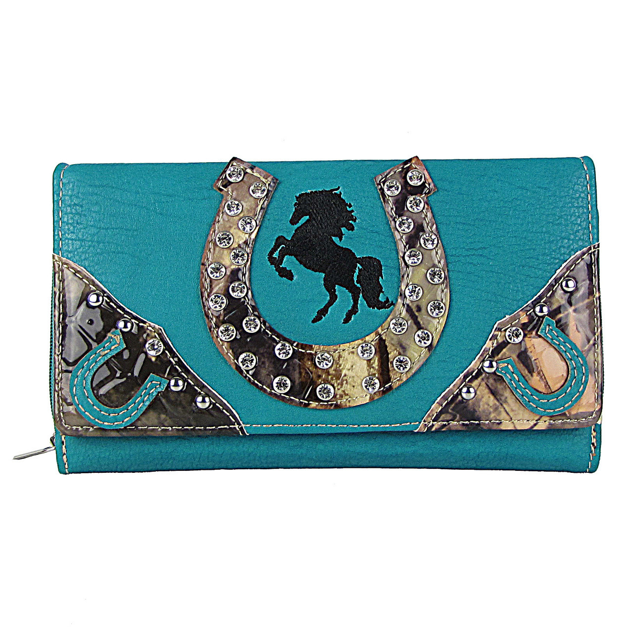 TURQUOISE HORSESHOE WESTERN STUDDED MOSSY CAMO LOOK CHECKBOOK WALLET CB1-1276TRQ