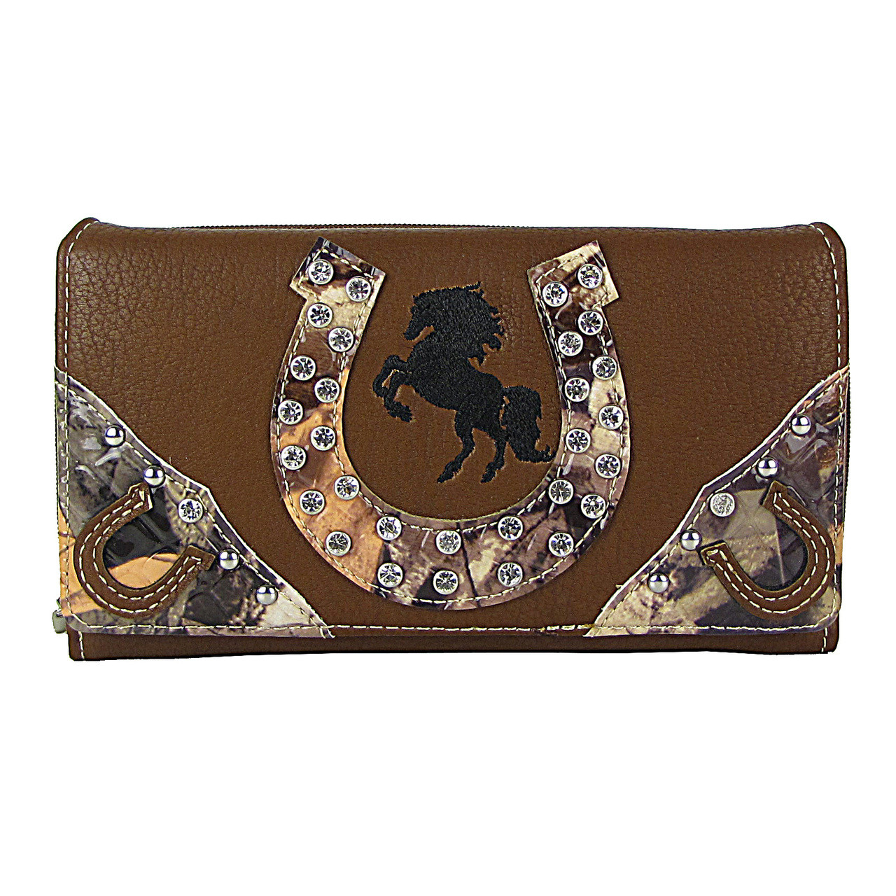BROWN HORSESHOE WESTERN STUDDED MOSSY CAMO LOOK CHECKBOOK WALLET CB1-1276BRN