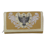 BEIGE STUDDED RHINESTONE STITCHED WINGED CROSS LOOK CHECKBOOK WALLET CB1-1275BEI