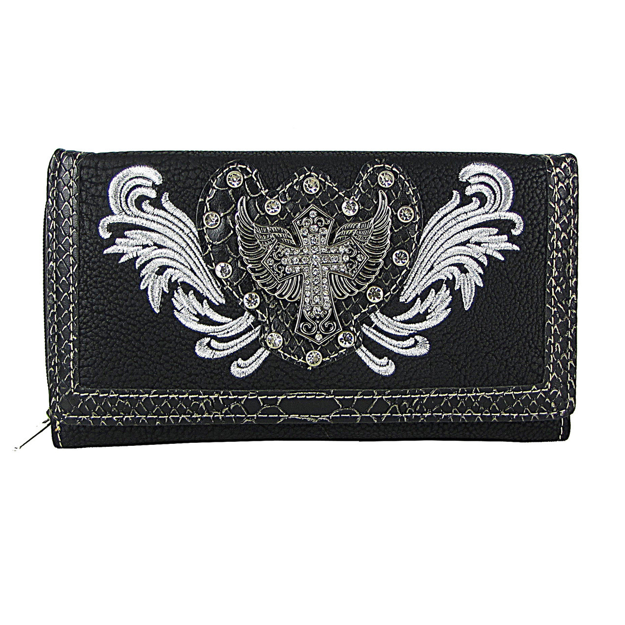 BLACK STUDDED RHINESTONE STITCHED WINGED CROSS LOOK CHECKBOOK WALLET CB1-1275BLK