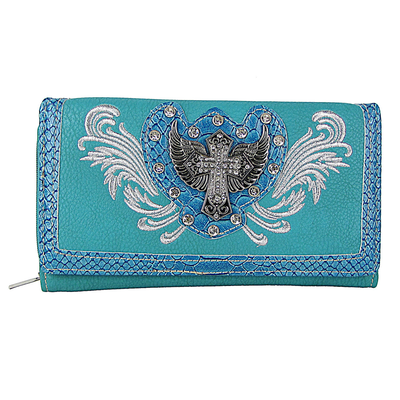 TURQUOISE STUDDED RHINESTONE STITCHED WINGED CROSS LOOK CHECKBOOK WALLET CB1-1275TRQ