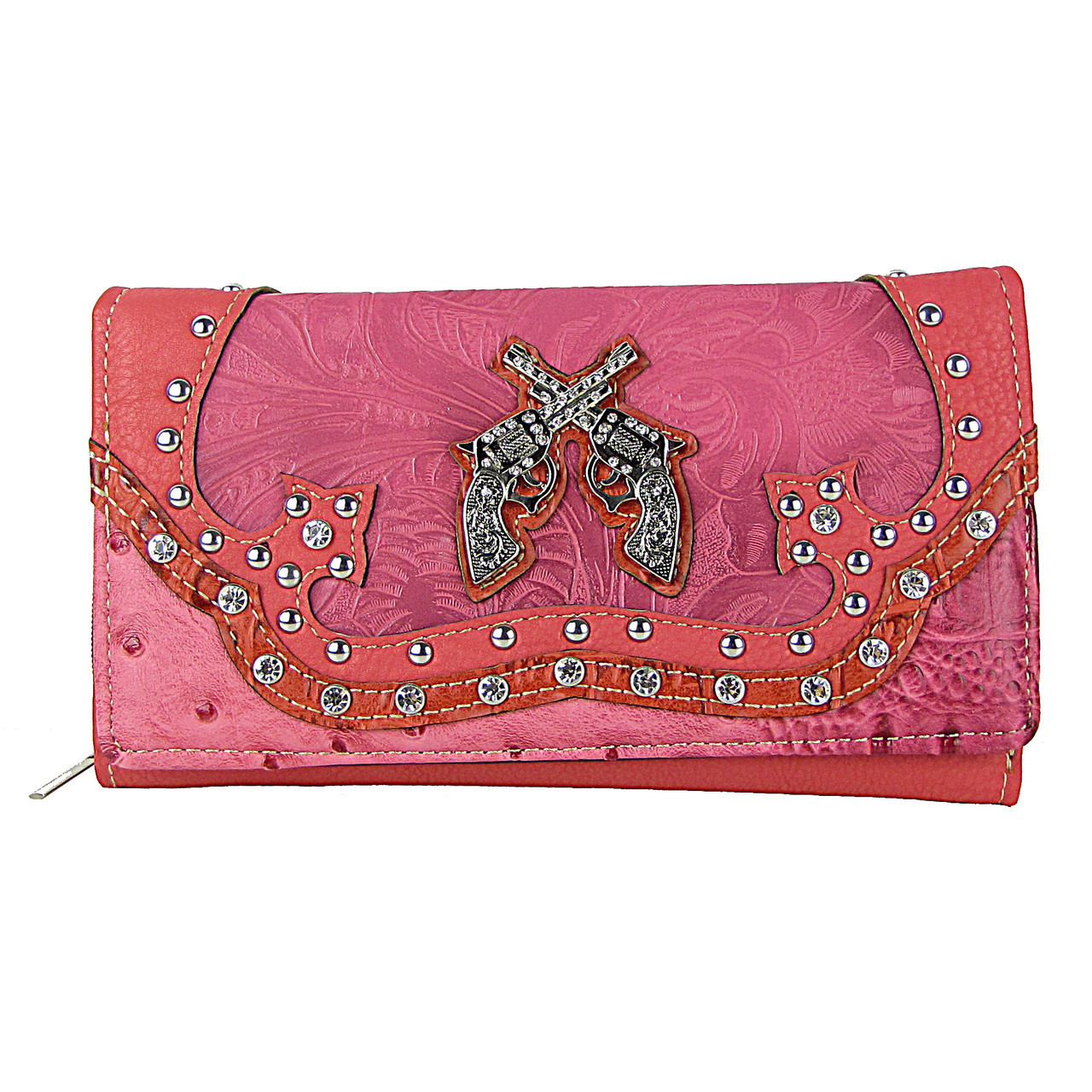 HOT PINK STUDDED RHINESTONE DISTRESSED PISTOL LOOK CHECKBOOK WALLET CB1-1274HPK