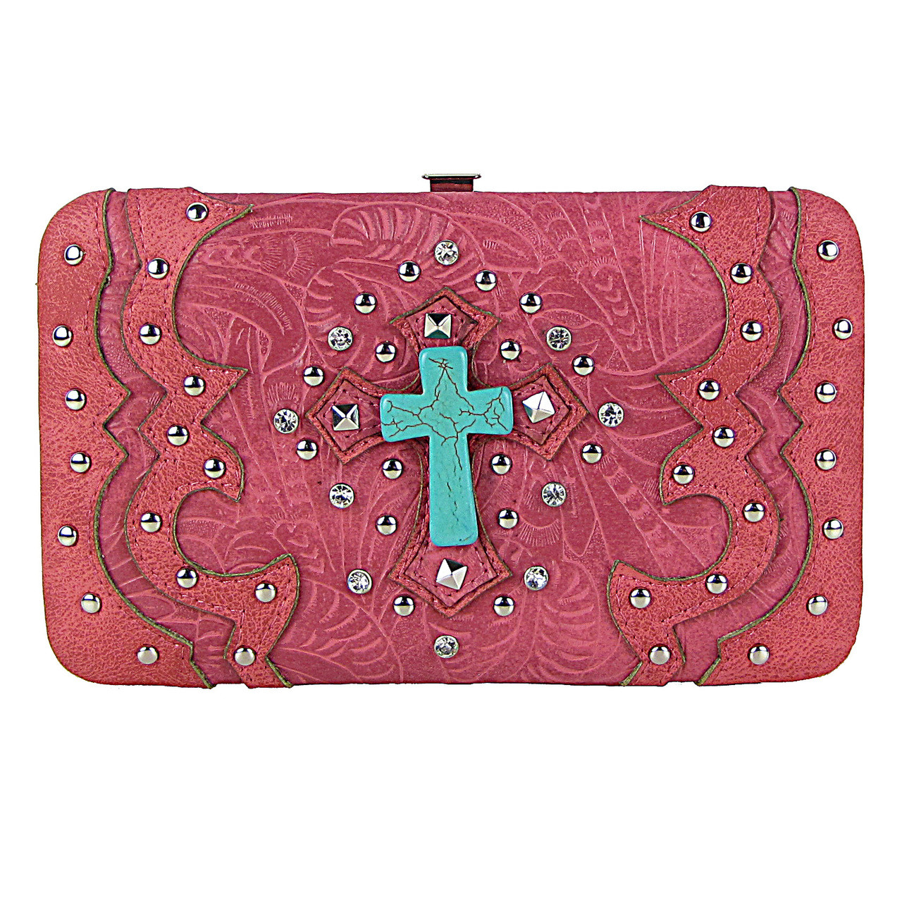 HOT PINK WESTERN TOOLED STUDDED TURQUOISE CROSS FLAT THICK WALLET FW2-0418HPK