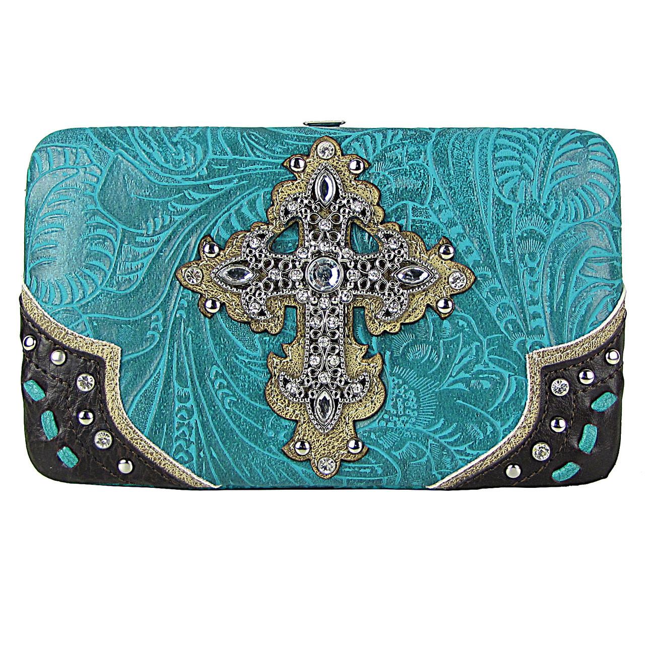 TURQUOISE TOOLED WESTERN RHINESTONE CROSS LOOK FLAT THICK WALLET FW2-0438TRQ
