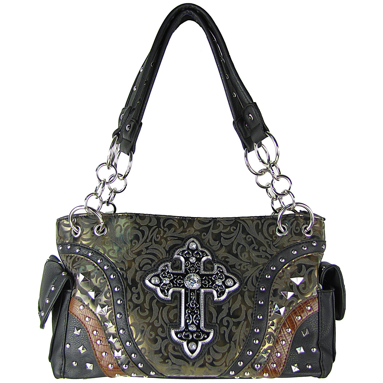 BLACK METALLIC PAISLEY STUDDED RHINESTONE CROSS LOOK SHOULDER HANDBAG HB1-90LCRBLK