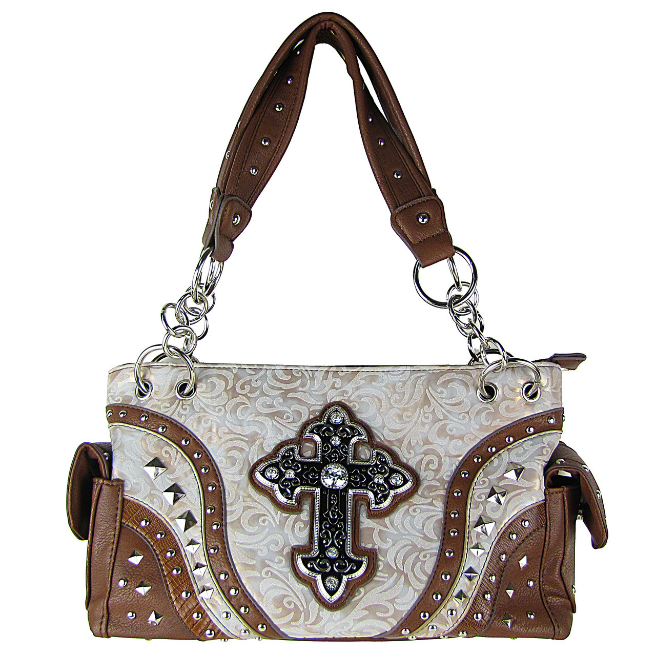 BEIGE METALLIC PAISLEY STUDDED RHINESTONE CROSS LOOK SHOULDER HANDBAG HB1-90LCRBEI