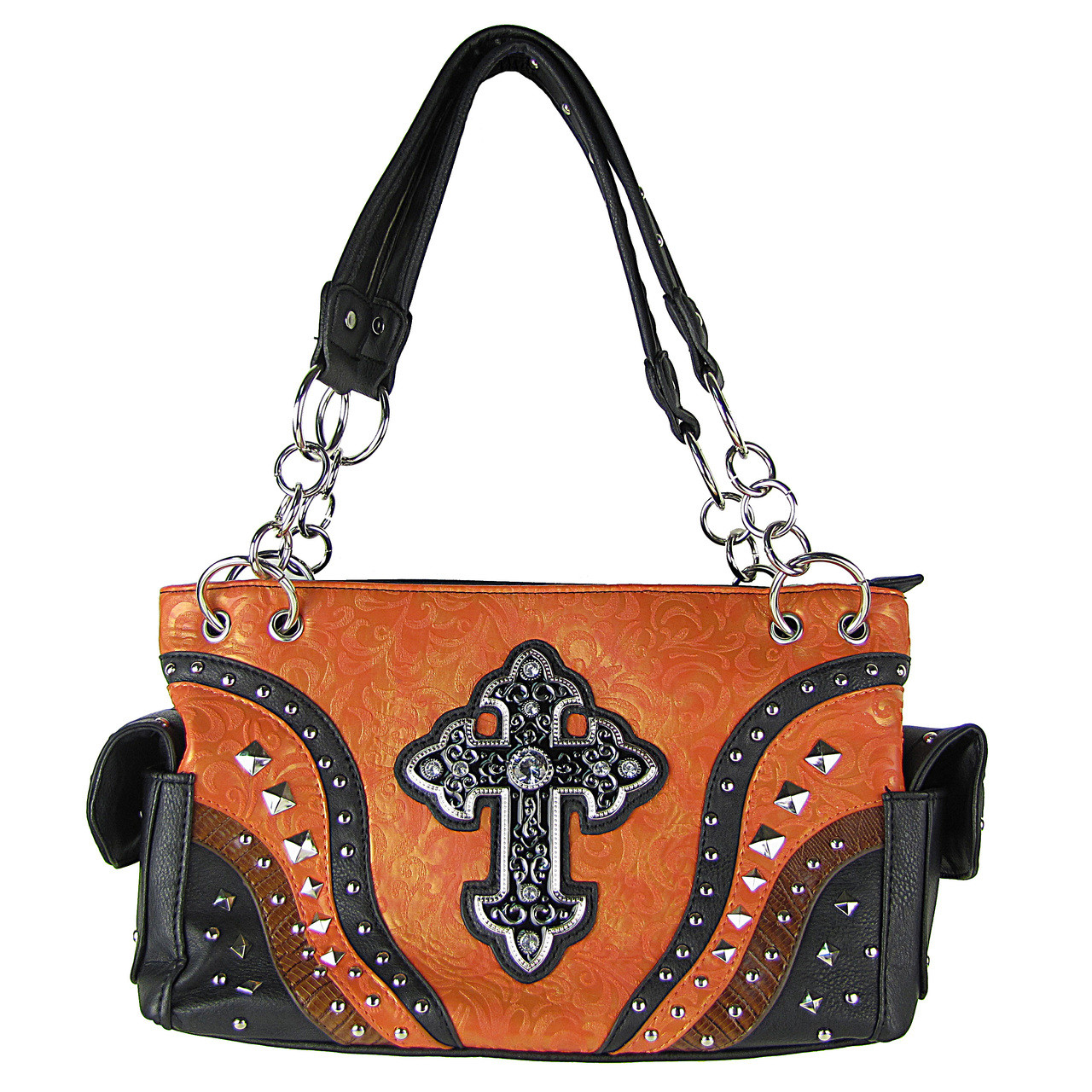 CORAL METALLIC PAISLEY STUDDED RHINESTONE CROSS LOOK SHOULDER HANDBAG HB1-90LCRCRL