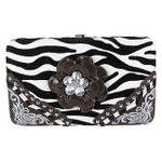 BROWN ZEBRA STITCHED RHINESTONE FLOWER FLAT THICK WALLET FW2-0756BRN