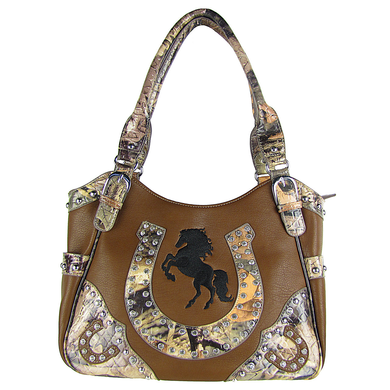 BROWN WESTERN MOSSY CAMO RHINESTONE STUDDED HORSESHOE LOOK SHOULDER HANDBAG HB1-HH392-20BRN