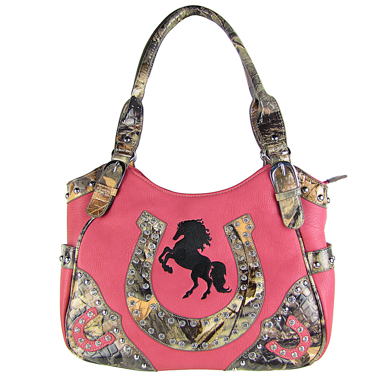 HOT PINK WESTERN MOSSY CAMO RHINESTONE STUDDED HORSESHOE LOOK SHOULDER HANDBAG HB1-HH392-20HPK