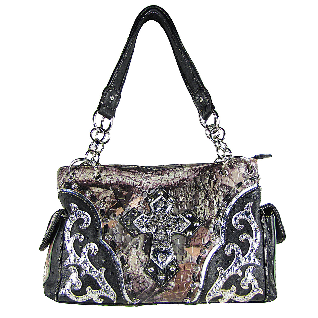BLACK WESTERN STUDDED RHINESTONE MOSSY CAMO METALLIC CROSS LOOK SHOULDER HANDBAG HB1-HC402-10BLK