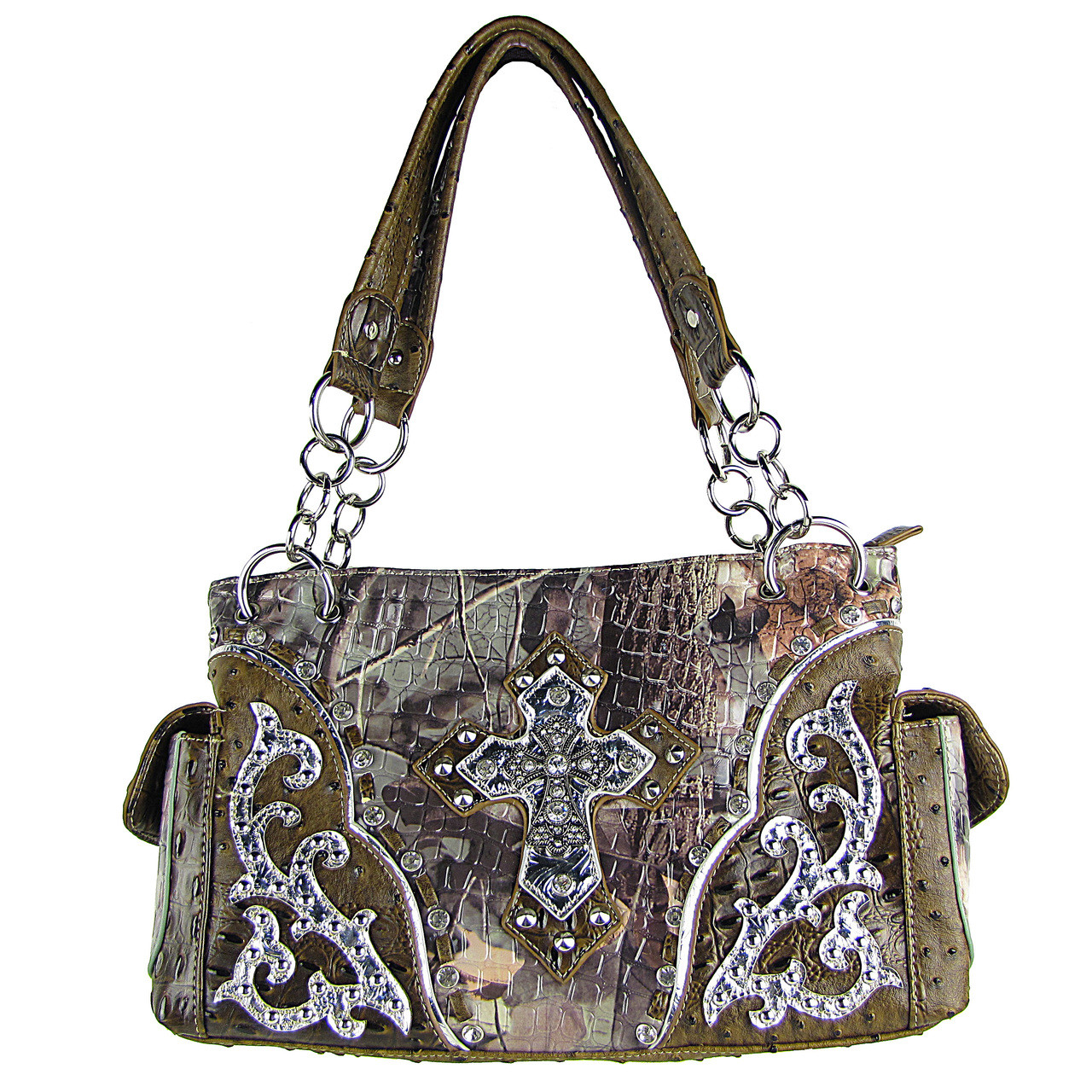 BROWN WESTERN STUDDED RHINESTONE MOSSY CAMO METALLIC CROSS LOOK SHOULDER HANDBAG HB1-HC402-10BRN