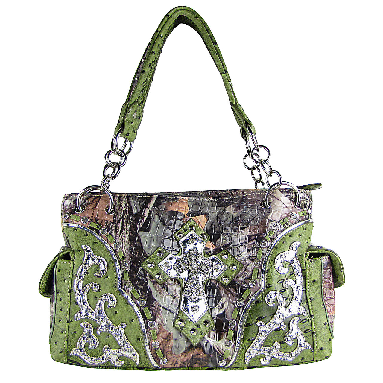 GREEN WESTERN STUDDED RHINESTONE MOSSY CAMO METALLIC CROSS LOOK SHOULDER HANDBAG HB1-HC402-10GRN