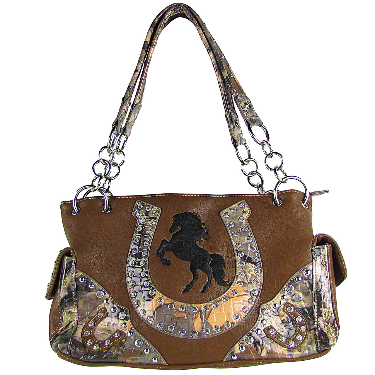 BROWN WESTERN MOSSY CAMO RHINESTONE STUDDED HORSESHOE LOOK SHOULDER HANDBAG HB1-HH392-10BRN