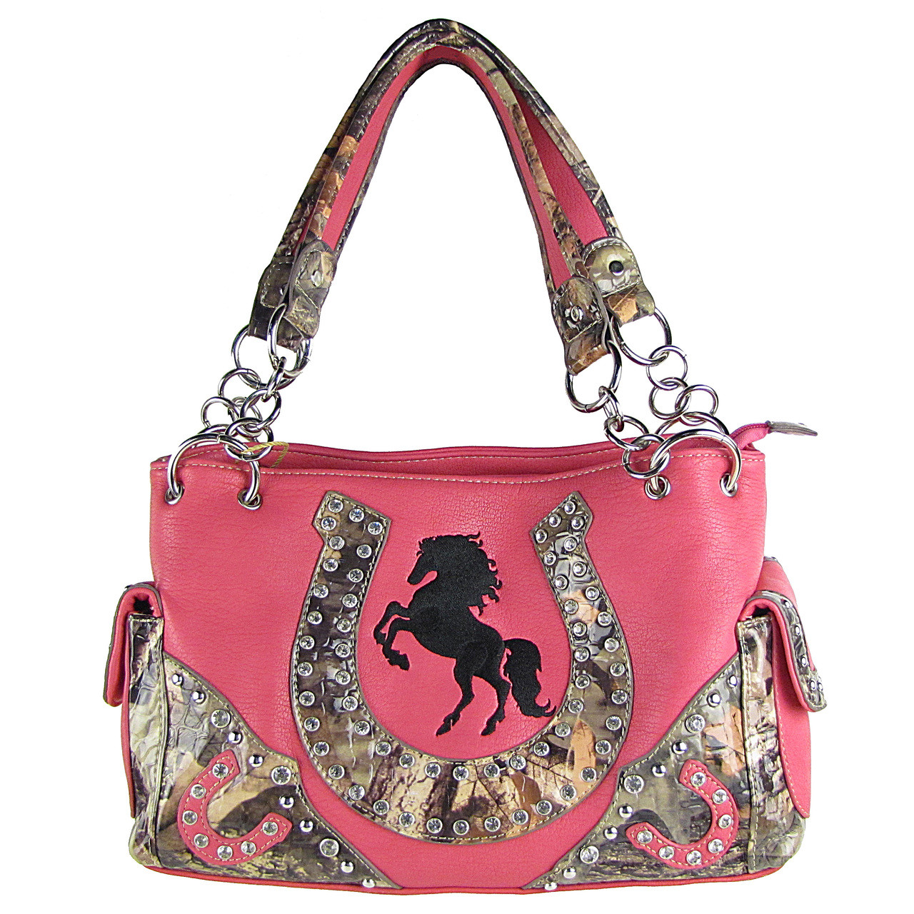HOT PINK WESTERN MOSSY CAMO RHINESTONE STUDDED HORSESHOE LOOK SHOULDER HANDBAG HB1-HH392-10HPK