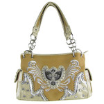 BEIGE STUDDED RHINESTONE WINGED CROSS SHOULDER HANDBAG HB1-HC391-10BEI