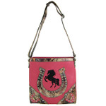 HOT PINK WESTERN MOSSY CAMO RHINESTONE STUDDED HORSESHOE LOOK MESSENGER BAG MB1-HH392-50HPK
