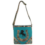 TURQUOISE WESTERN MOSSY CAMO RHINESTONE STUDDED HORSESHOE LOOK MESSENGER BAG MB1-HH392-50TRQ