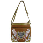 BROWN STUDDED RHINESTONE WINGED CROSS LOOK MESSENGER BAG MB1-HP391-50BRN