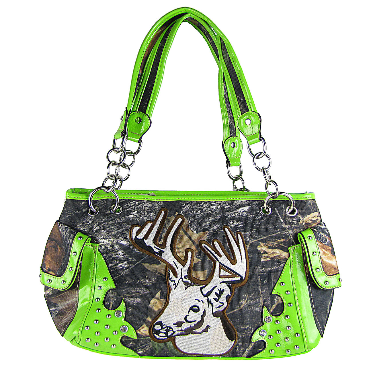 GREEN MOSSY CAMO DEER SHOULDER HANDBAG HB1-CA6625GRN