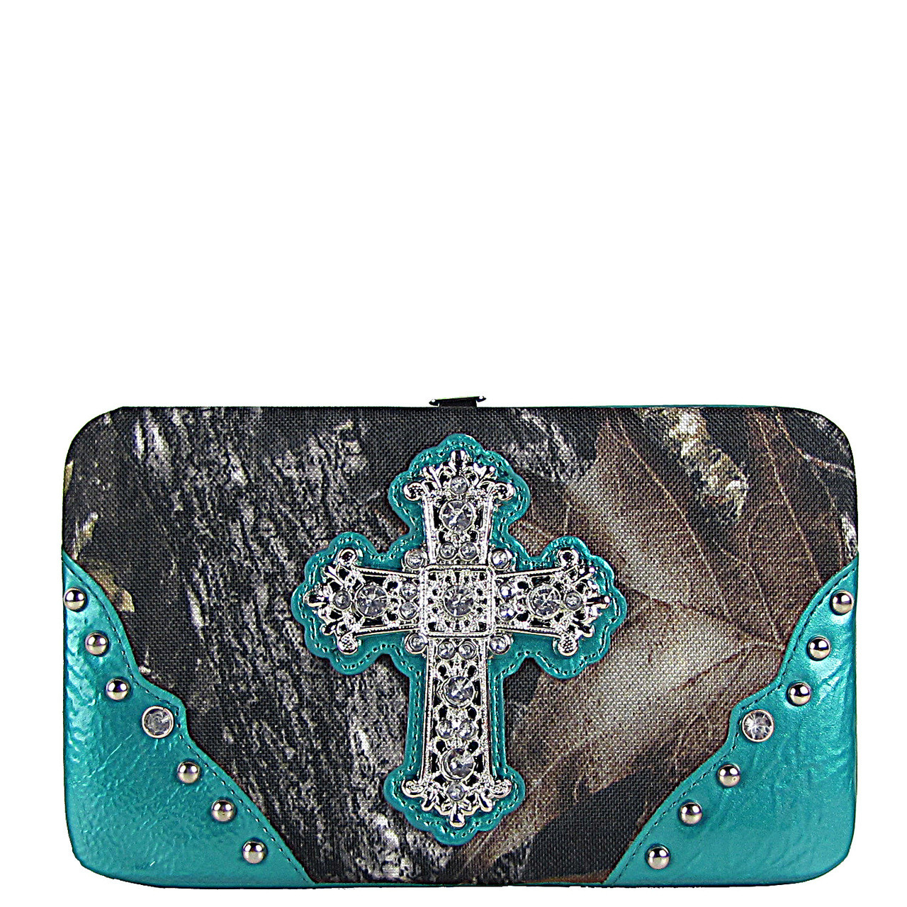 AQUA CROSS MOSSY CAMO LOOK FLAT THICK WALLET FW2-0421AQU