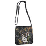BLACK CAMO STUDDED RHINESTONE STITCHED DEER LOOK MESSENGER BAG MB1-AB8532BLK