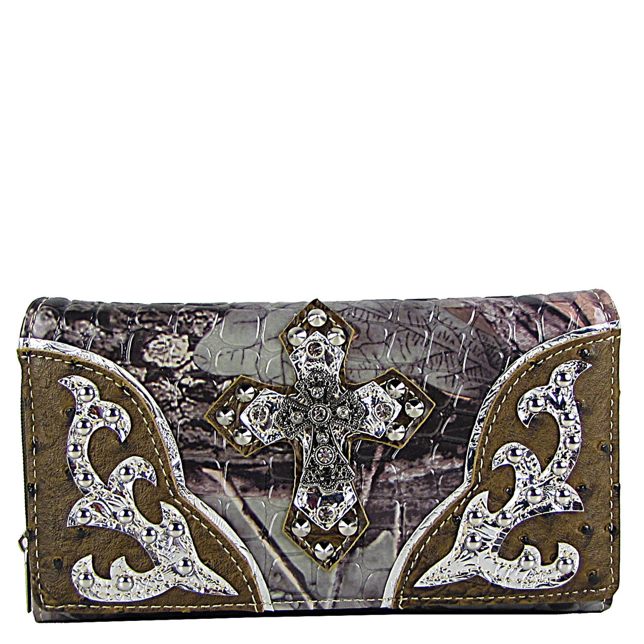 BROWN WESTERN STUDDED RHINESTONE MOSSY CAMO METALLIC CROSS LOOK CHEKCBOOK WALLET CB1-0413BRN