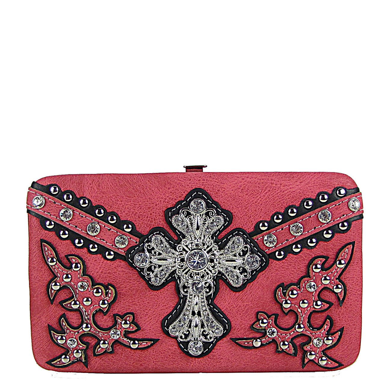 HOT PINK STUDDED WESTERN RHINESTONE CROSS FLAT THICK WALLET