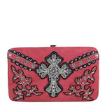 HOT PINK STUDDED WESTERN RHINESTONE CROSS FLAT THICK WALLET FW2-04109HPK