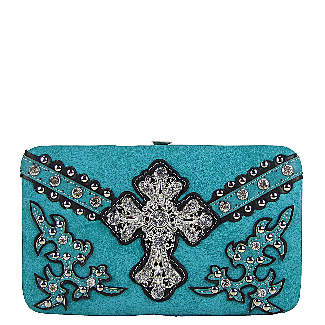 TURQUOISE STUDDED WESTERN RHINESTONE CROSS FLAT THICK WALLET FW2-04109TRQ