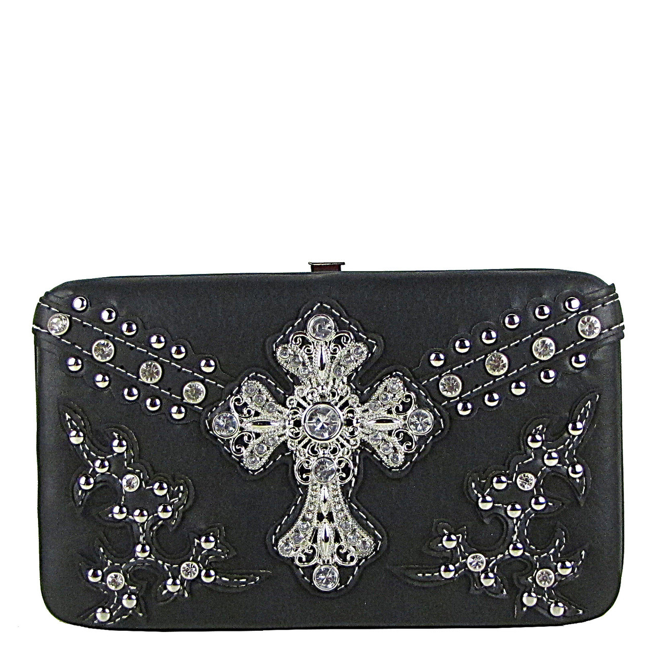 BLACK STUDDED WESTERN RHINESTONE CROSS FLAT THICK WALLET FW2-04109BLK