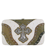 WHITE STUDDED WESTERN RHINESTONE OSTRICH CROC CROSS FLAT THICK WALLET FW2-04110WHT