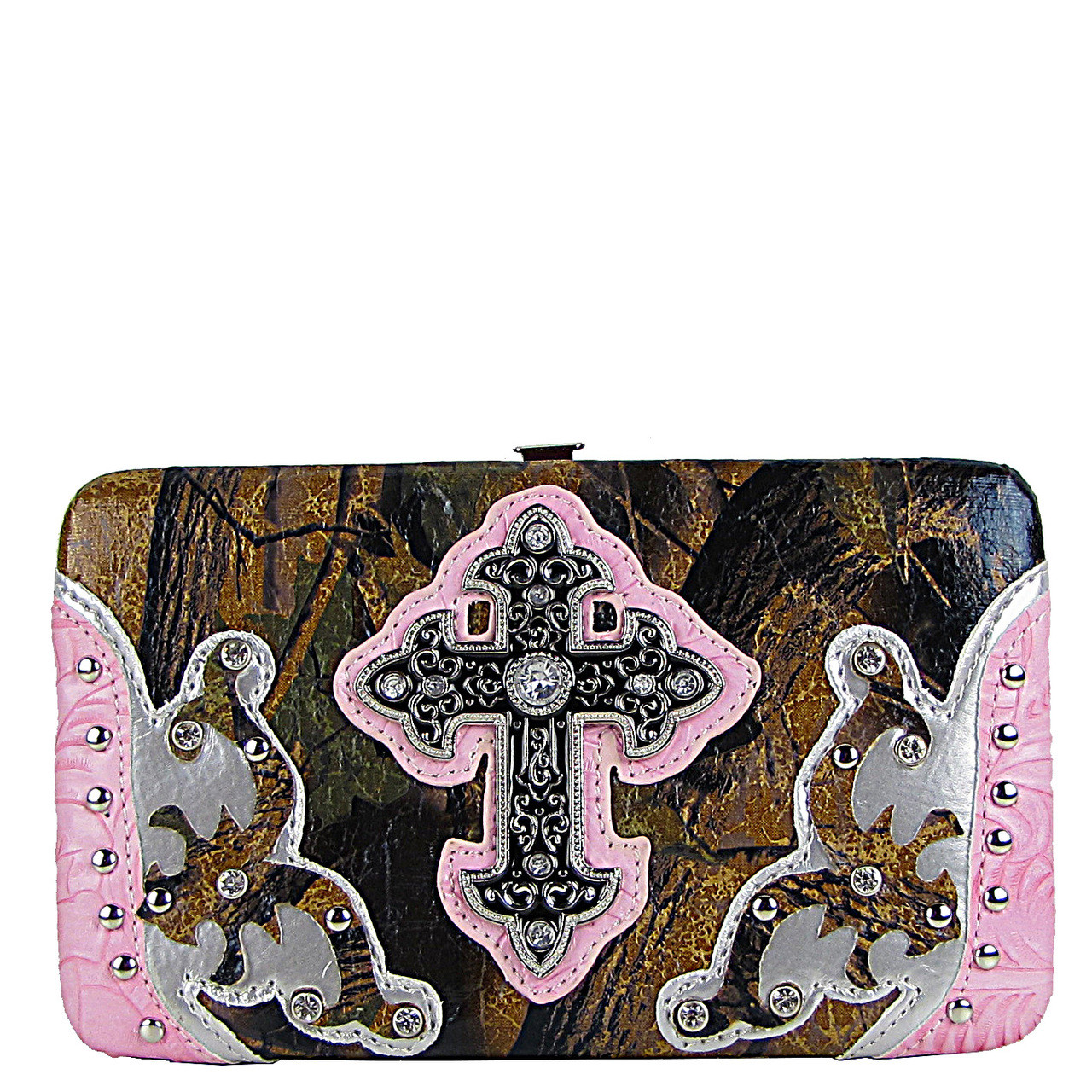 LIGHT PINK STUDDED METALLIC CAMO CROSS FLAT THICK WALLET FW2-04107LPK