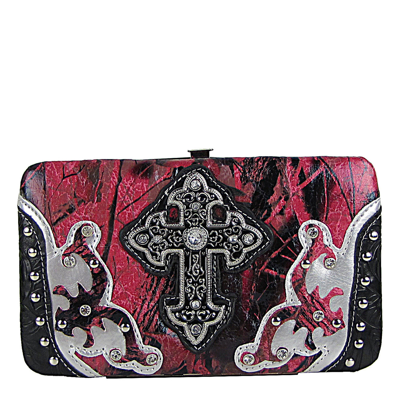 BLACK STUDDED METALLIC CAMO CROSS FLAT THICK WALLET FW2-04107BLK
