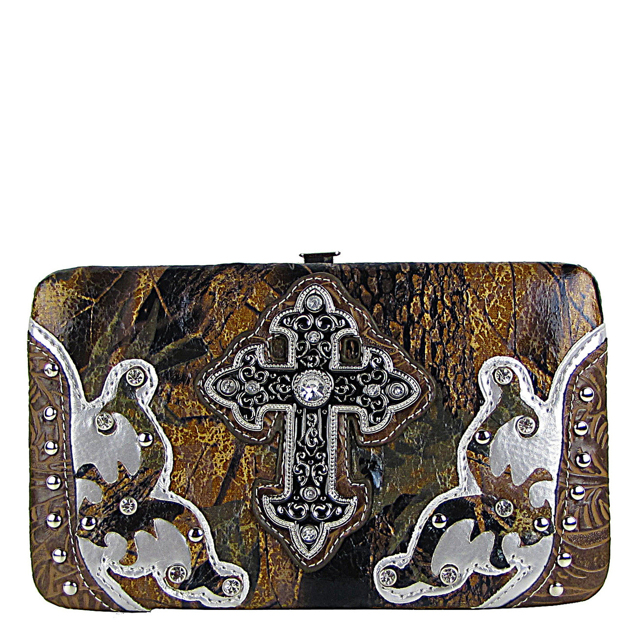 BROWN STUDDED METALLIC CAMO CROSS FLAT THICK WALLET FW2-04107BRN