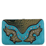 TURQUOISE WESTERN RHINESTONE STUDDED CROC LOOK  FLAT THICK WALLET FW2-12112TRQ