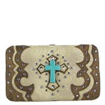 BEIGE WESTERN TOOLED STUDDED TURQUOISE CROSS FLAT THICK WALLET FW2-0418BEI