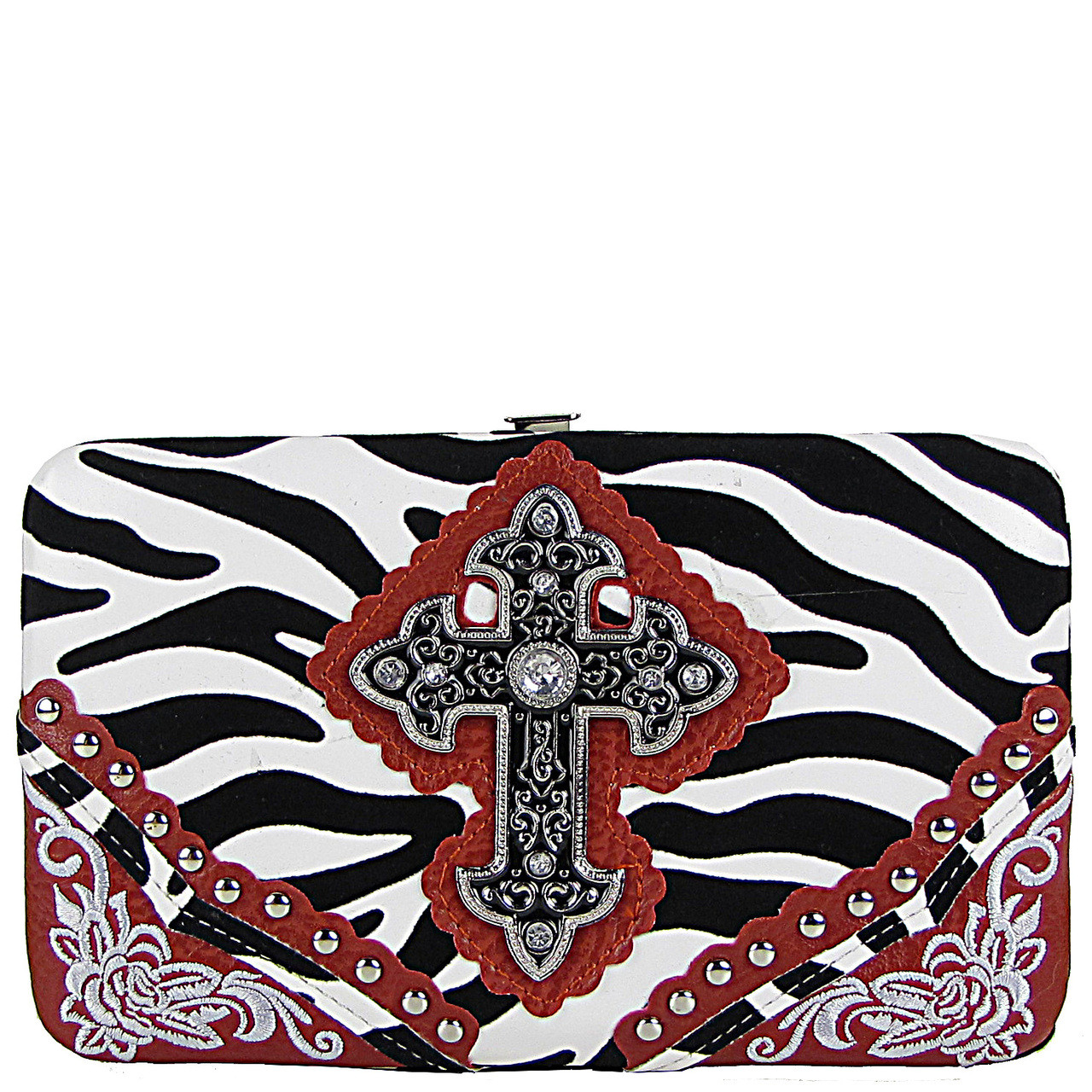 RED ZEBRA STITCHED CROSS FLAT THICK WALLET FW2-0472RED