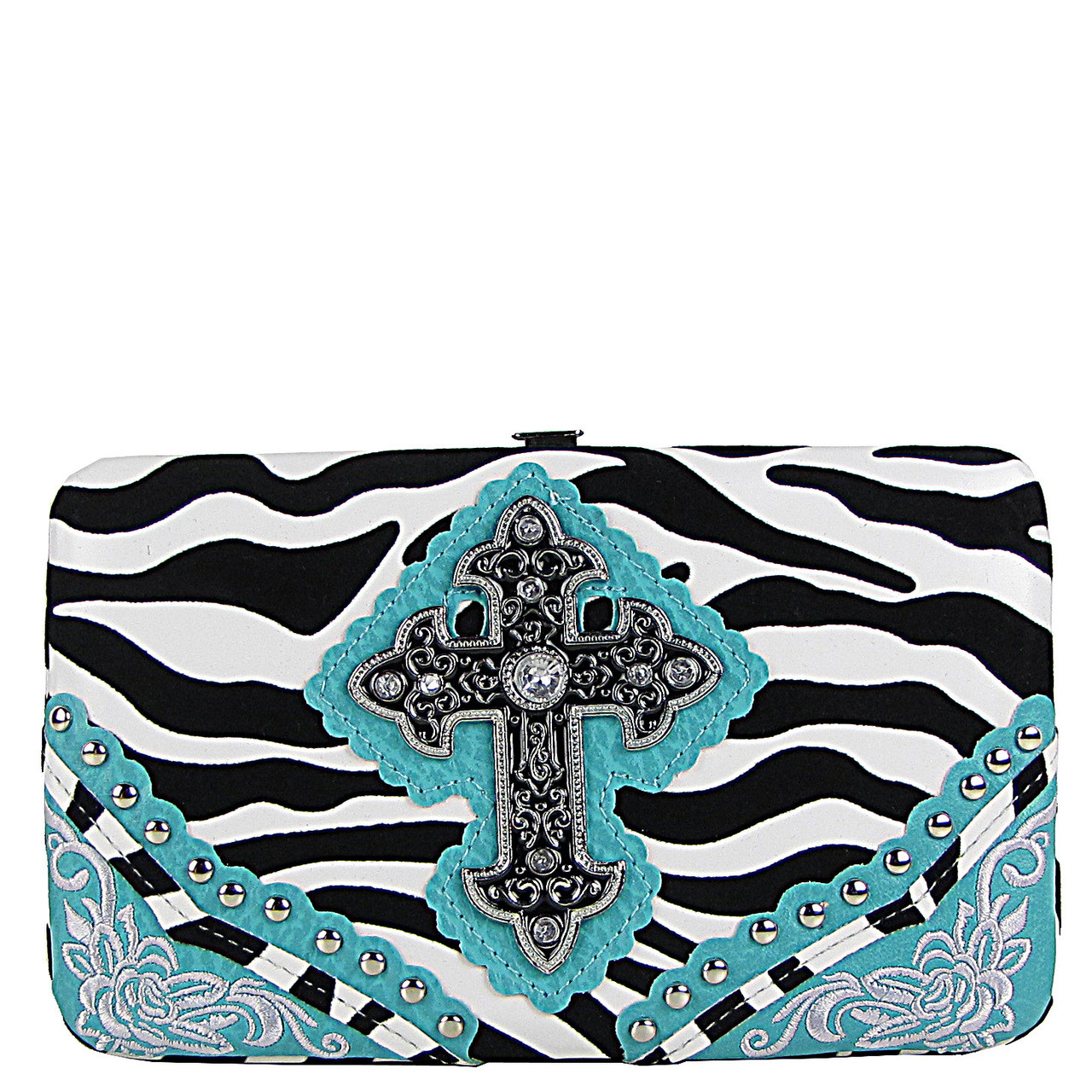 TURQUOISE ZEBRA STITCHED CROSS FLAT THICK WALLET FW2-0472TRQ