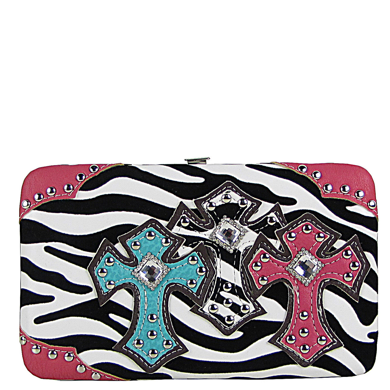 HOT PINK ZEBRA STONE STUDDED CROSS LOOK FLAT WALLET FW2-04102HPK