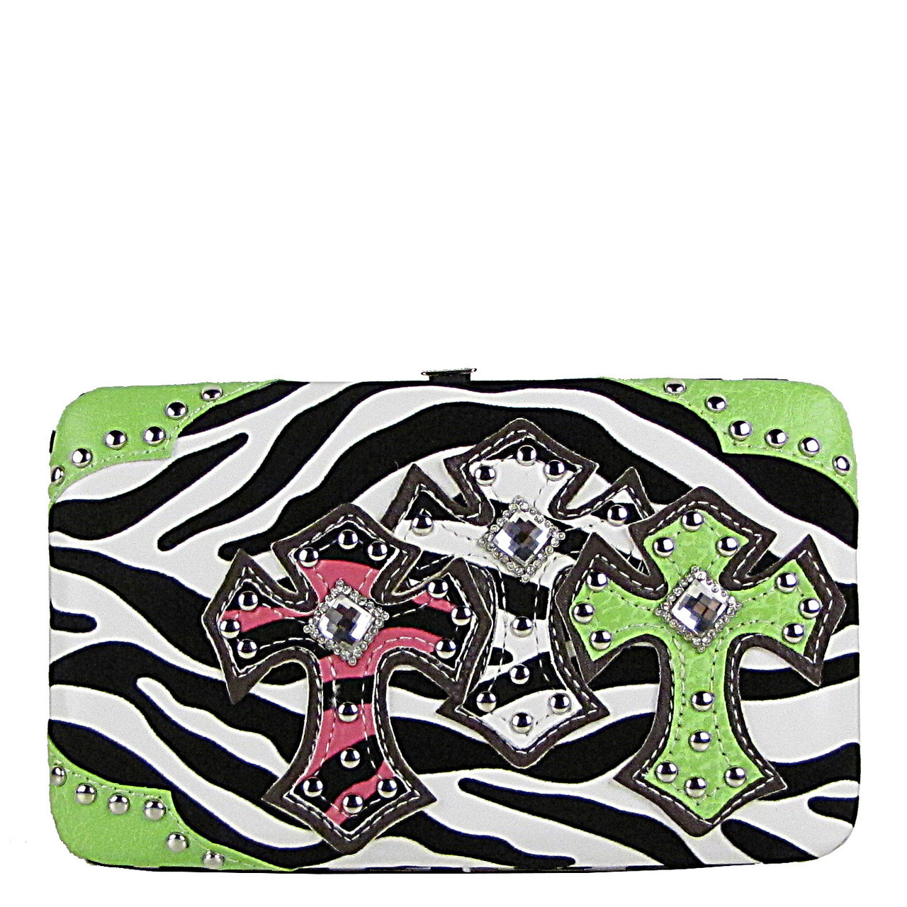 GREEN ZEBRA STONE STUDDED CROSS LOOK FLAT WALLET FW2-04102GRN