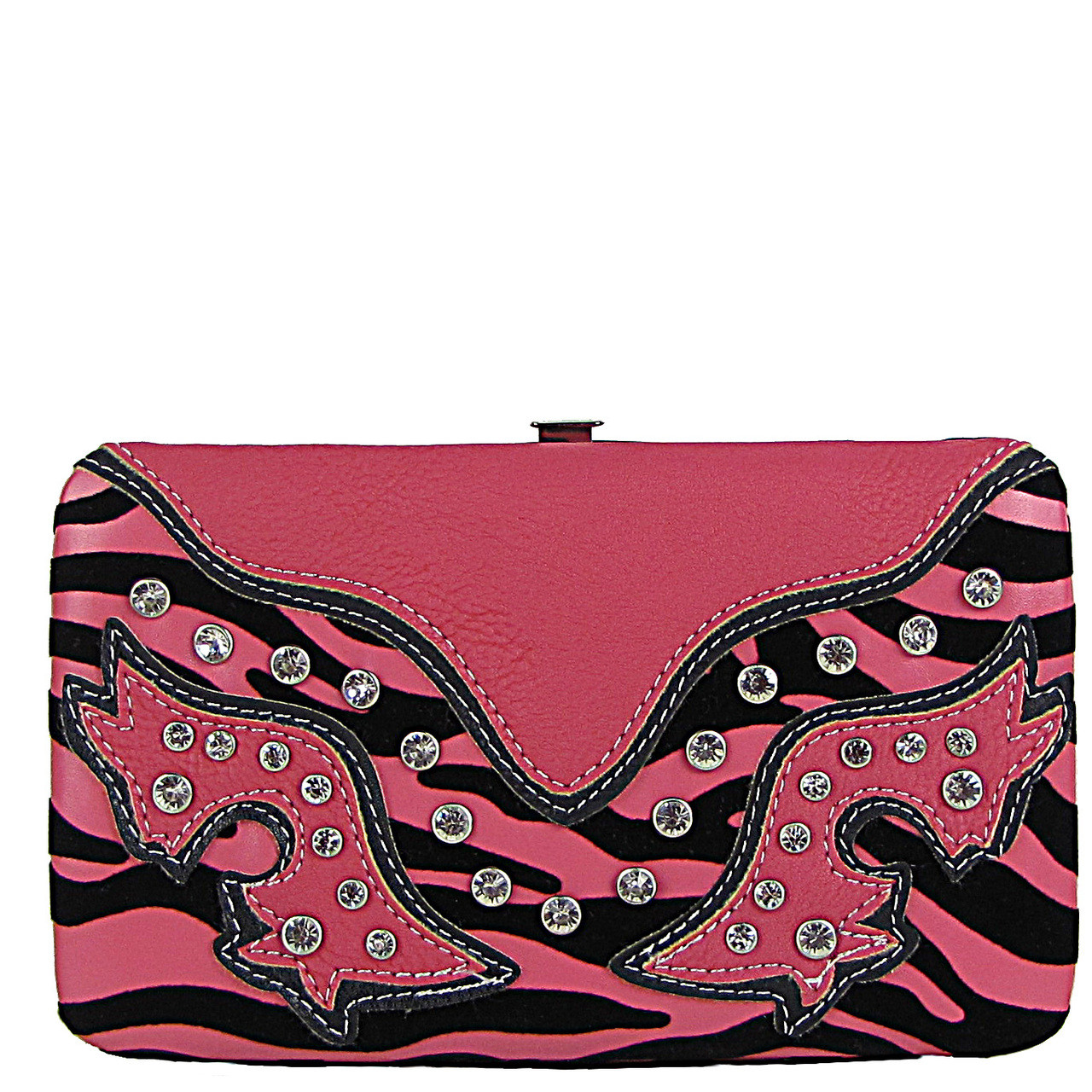 BLACK/HOT PINK ZEBRA STUDDED RHINESTONE LOOK FLAT THICK WALLET FW2-12105BHP